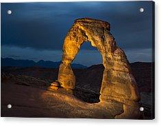 Delicate Arch At Night Acrylic Print by Adam Romanowicz