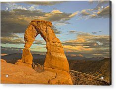 Delicate Arch At Sunset Acrylic Print by Adam Romanowicz