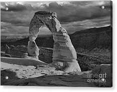 Delicate Arch Black And White Sunset Shadow Acrylic Print