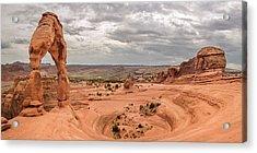 Delicate Arch Panoramic Acrylic Print by Adam Romanowicz