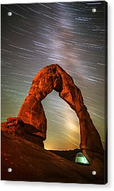 Delicate Arch Star Trails Acrylic Print by Darren White