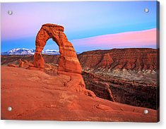 Delicate Arch Sunset Acrylic Print by Johnny Adolphson
