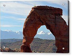 Acrylic Print featuring the photograph Delicate Arch With Wispy Clouds by Bruce Gourley