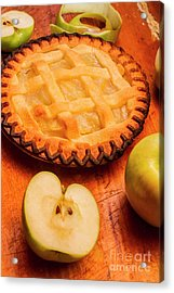 Delicious Apple Pie With Fresh Apples On Table Acrylic Print