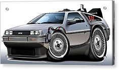 Delorean Back To The Future Acrylic Print by Maddmax