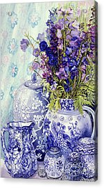 Delphiniums With Antique Blue Pots Acrylic Print by Joan Thewsey