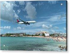 Delta 757 Landing At St. Maarten Acrylic Print
