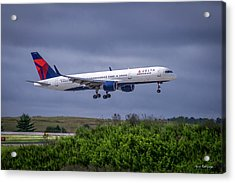 Delta Air Lines 757 Airplane N557nw Art Acrylic Print by Reid Callaway