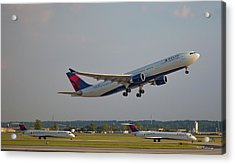 Delta Airlines Jet N827nw Airbus A330-300 Atlanta Airplane Art Acrylic Print