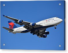 Delta Boeing 747-451 N662us Phoenix Sky Harbor January 12 2015 Acrylic Print by Brian Lockett