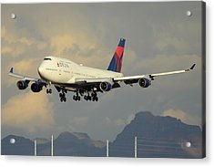 Delta Boeing 747-451 N668us Phoenix Sky Harbor January 8 2015 Acrylic Print by Brian Lockett