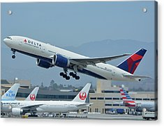 Acrylic Print featuring the photograph Delta Boeing 777-232lr N703dn Los Angeles International Airport May 3 2016 by Brian Lockett