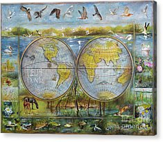 Danube Delta  Map.delta Map Painted On Leather. Original Map.one Of A Kind Map. Acrylic Print