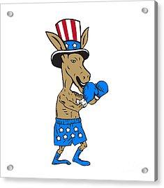 Democrat Donkey Boxer Mascot Cartoon Acrylic Print by Aloysius Patrimonio
