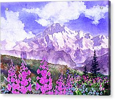 Denali With Fireweed Acrylic Print