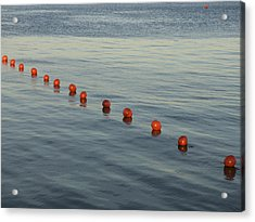 Denmark Red Safety Balls Floating Acrylic Print by Keenpress
