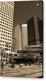 Acrylic Print featuring the photograph Denver Architecture Sepia by Frank Romeo