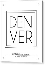 Denver City Print With Coordinates Acrylic Print
