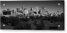 Denver Co Skyline B W Acrylic Print by Steve Gadomski