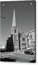 Denver Downtown Church Bw Acrylic Print by Frank Romeo