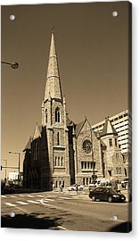 Acrylic Print featuring the photograph Denver Downtown Church Sepia by Frank Romeo