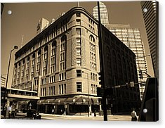 Acrylic Print featuring the photograph Denver Downtown Sepia by Frank Romeo
