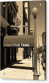 Acrylic Print featuring the photograph Denver Downtown Storefront Sepia by Frank Romeo