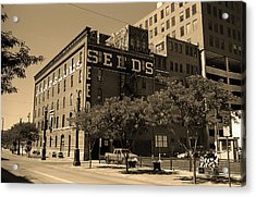 Acrylic Print featuring the photograph Denver Downtown Warehouse Sepia by Frank Romeo