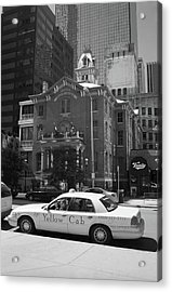 Denver Downtown With Yellow Cab Bw Acrylic Print by Frank Romeo