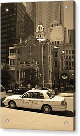 Acrylic Print featuring the photograph Denver Downtown With Yellow Cab Sepia by Frank Romeo