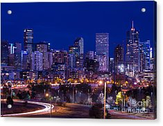 Denver Skyline At Night - Colorado Acrylic Print
