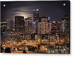Denver Skyline At Night Acrylic Print