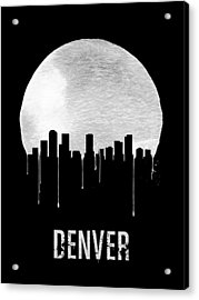 Denver Skyline Black Acrylic Print by Naxart Studio