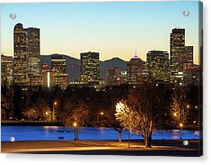 Acrylic Print featuring the photograph Denver Skyline - City Park View - Cool Blue by Gregory Ballos