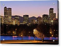 Acrylic Print featuring the photograph Denver Skyline - City Park View by Gregory Ballos