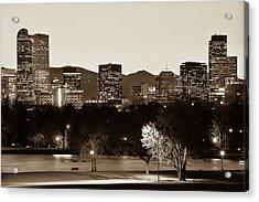 Denver Skyline - City Park View - Sepia Acrylic Print