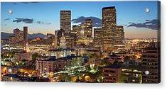 Denver Skyline Evening Panoramic Acrylic Print by Steve Mohlenkamp