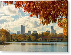 Denver Skyline Fall Foliage View Acrylic Print