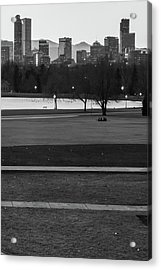 Acrylic Print featuring the photograph Denver Skyline In The Distance - Black-white by Gregory Ballos