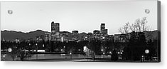 Denver Skyline Night Panorama - Colorado Photography Black And White Acrylic Print by Gregory Ballos