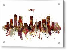 Acrylic Print featuring the mixed media Denver Skyline Silhouette by Marian Voicu