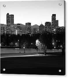 Acrylic Print featuring the photograph Denver Skyline Square Format - Black And White by Gregory Ballos
