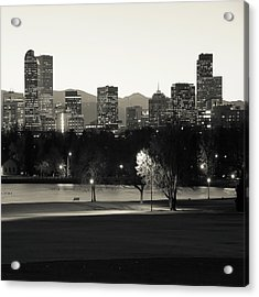 Acrylic Print featuring the photograph Denver Skyline Square Format - Monochrome by Gregory Ballos