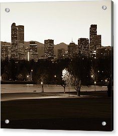 Acrylic Print featuring the photograph Denver Skyline Square Format - Sepia by Gregory Ballos