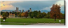 Denver Skyline Sunrise Panorama In Autumn Acrylic Print