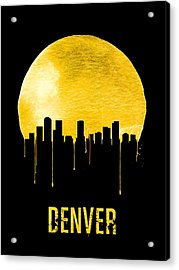 Denver Skyline Yellow Acrylic Print by Naxart Studio