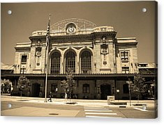 Acrylic Print featuring the photograph Denver - Union Station Sepia 5 by Frank Romeo