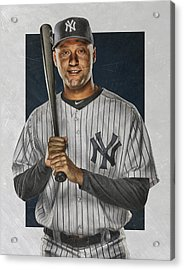 Derek Jeter New York Yankees Art Acrylic Print by Joe Hamilton