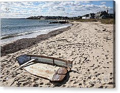 Derelict  Boat, Falmouth Beach Acrylic Print by Bryan Attewell