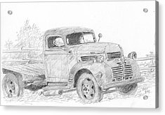 Acrylic Print featuring the drawing Derelict Dodge by David King